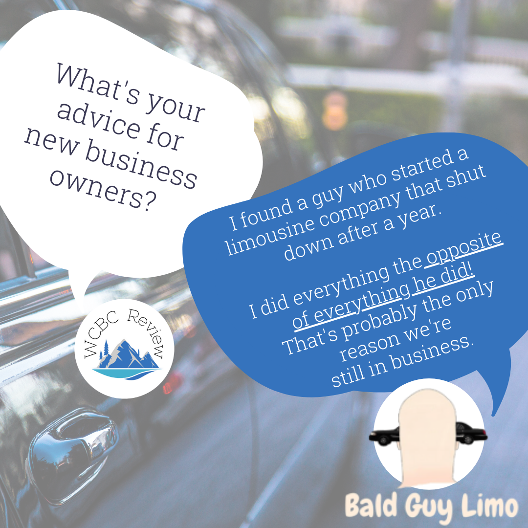 """Two text bubbles. One from WCBC that says """"what's your advice for new business owners?"""" and one from Bald Guy Limo that says """"I"""