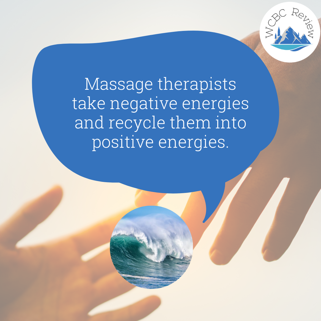 """A speech bubble from Ocean Tides Massage saying """"massage therapists take negative energies and recycle them into positive energies"""""""