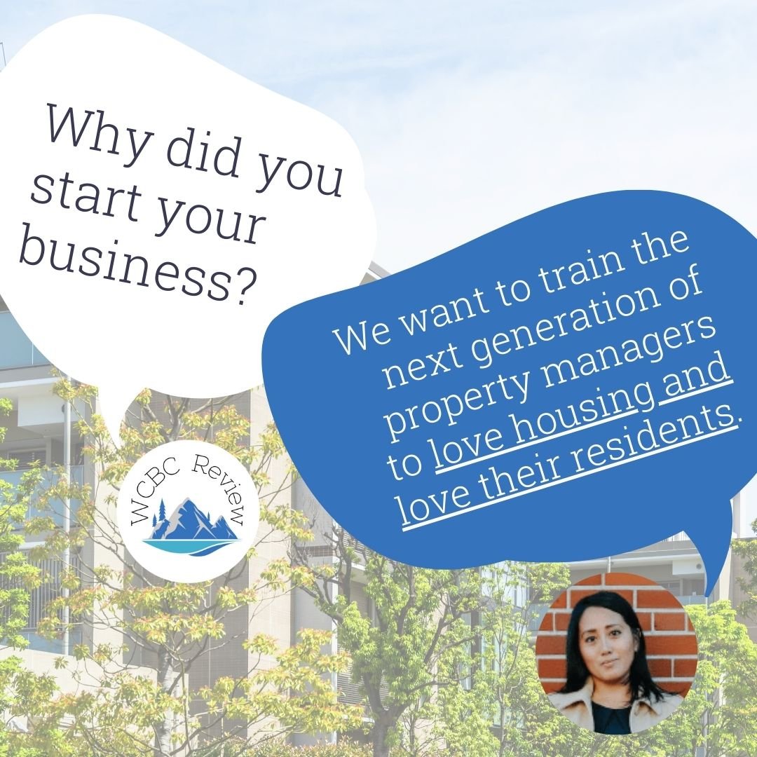 """A quote from Alicia of Stars Staffing Group. WCBC Review asks """"why did you start your business?"""" to which Alicia replies """"We want to train the next generation of property managers to love housing and love their residents"""""""