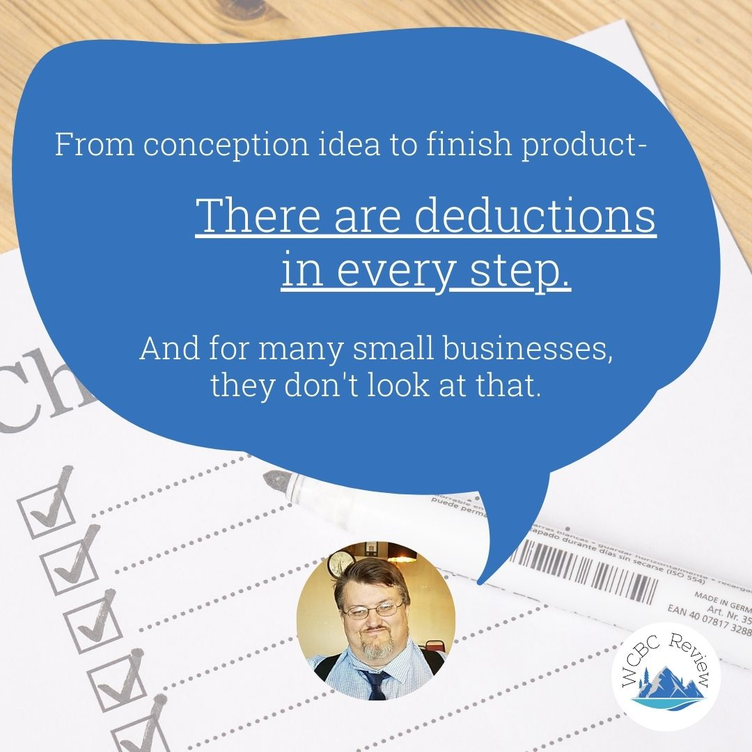 """Gary Miller of Miller's Mobile Tax Service with a speech bubble saying """"From conception to finished product, there are deductions in every step. And for many small businesses, they don't look at that"""""""
